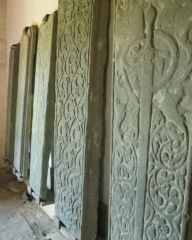 Medieval grave slabs in the museum
