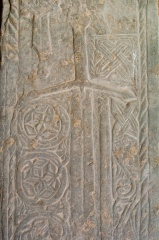 Medieval grave slab in the cloister