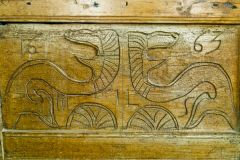 Irstead St Michaels Church, Carved serpents or dragons on the pulpit, dated 1663