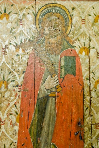 Irstead St Michaels Church photo, Defaced figure of a saint on the rood screen