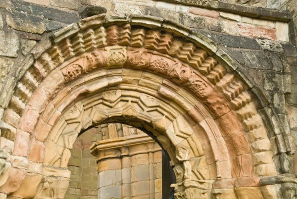 Jedburgh Abbey photo, Romanesque doorway arch