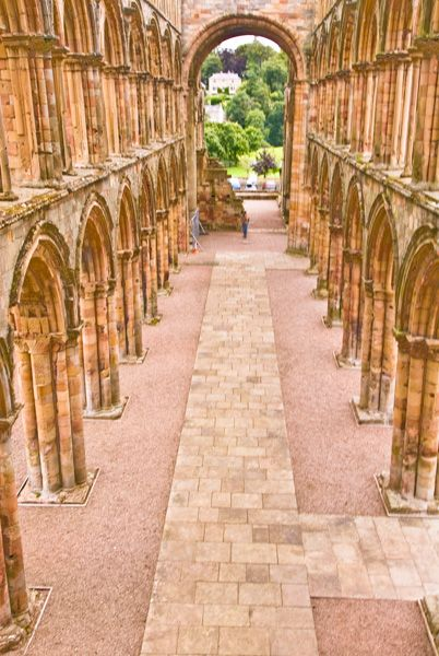 Jedburgh Abbey photo, View from the tower down the nave