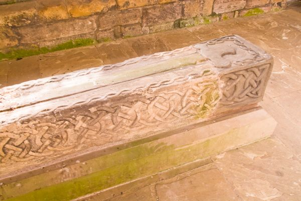 Jedburgh Abbey photo, Carved 12th century grave slab of John, Bishop of Glasgow
