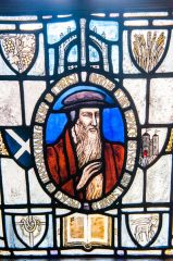 John Knox stained glass window, first floor