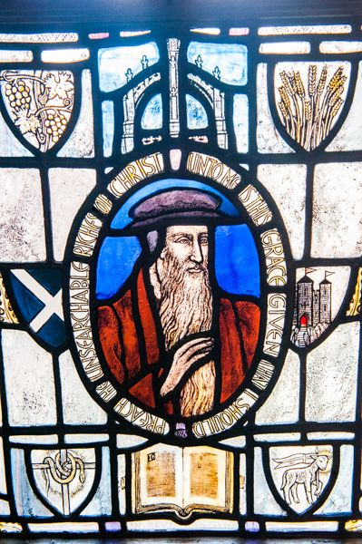 John Knox's House photo, John Knox stained glass window, first floor