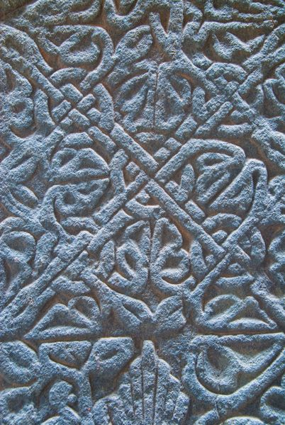 Keills Chapel photo, Celtic interlaced carving