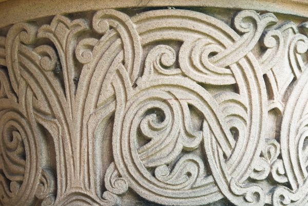 Kelso Abbey photo, Roxburgh cloister carving