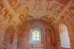 The richly painted chancel
