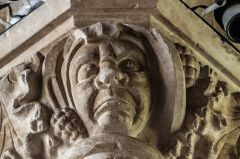 Kenton, All Saints Church, Grotesque head on a nave capital