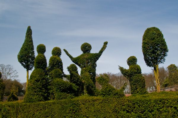 Kentwell Hall photo, Fanciful topiary in the formal gardens