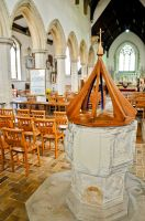 Kersey, St Mary's Church, Font and nave