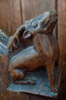 Carved stag bench end