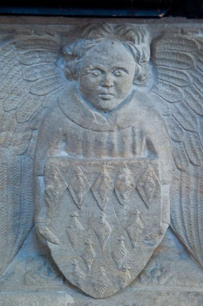 Kettleburgh, St Andrew's Church photo, Heraldic panel on font