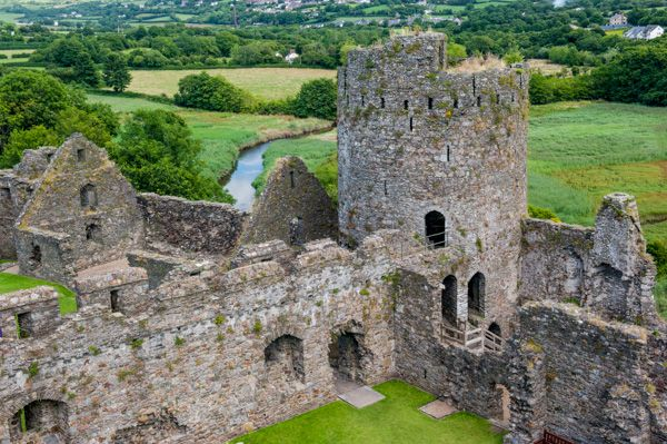 Kidwelly Castle photo, View from atop one of the corner towers