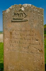 Kilkivan Chapel and Graveyard, Grave stone with a sailing ship