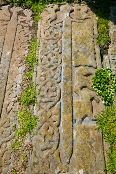 Kilkivan Chapel and Graveyard photo, Grave slabs with carved swords