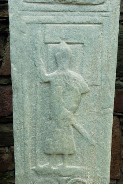 Kilmory Knap Chapel photo, Knight with mason's square