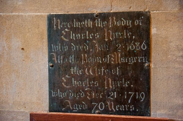 Kingston Deverill, St Mary's Church photo, Elizabeth Hurle memorial plaque, 1688