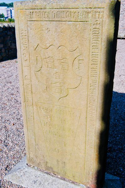 Kinkell Church photo, 1592 Forbes grave slab