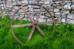 Kirbuster Museum, An old iron wheel outside the museum