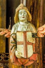 Painted angel figure in the church