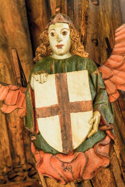Knapton photo, Painted angel with shield