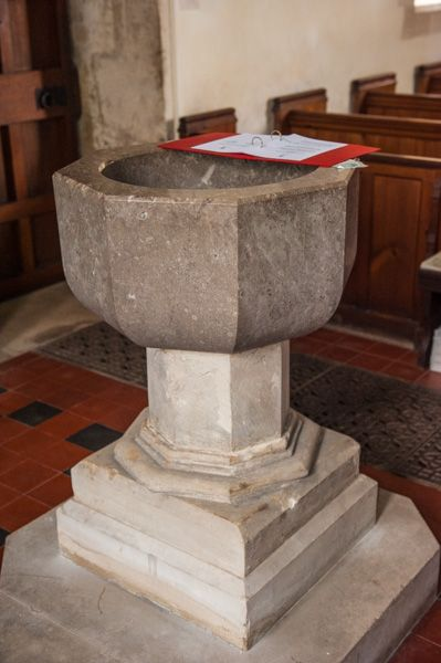 Knook, St Margaret's Church photo, The plain Victorian font