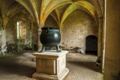 Lacock Abbey, 16th century cauldron in the nunnery warming room