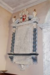 Lamport, All Saints Church, Memorial to Justinian Isham (d. 1674)
