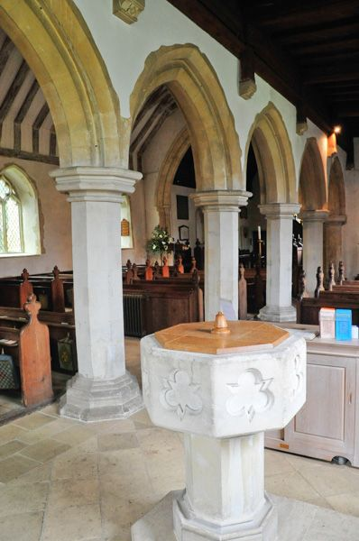 Langham, St Mary's Church photo, Font and nave