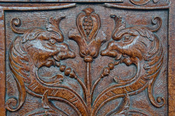 Laxfield photo, Carved bench end in church