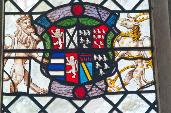 Layer Marney, St Mary's Church photo, Heraldic stained glass panel