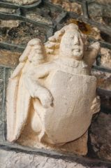 Leigh on Mendip, St Giles Church, 13th century angel with heraldic shield