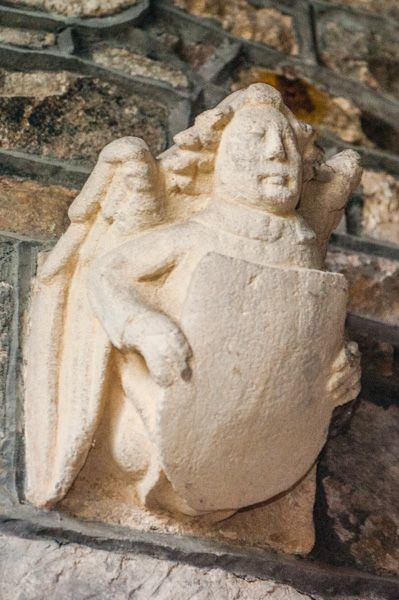 Leigh on Mendip, St Giles Church photo, 13th century angel with heraldic shield