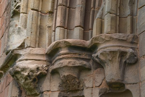 Lilleshall Abbey photo, West door carvings