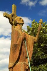 Lindisfarne Priory, St Aiden statue