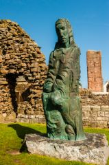 Lindisfarne Priory, St Cuthbert statue