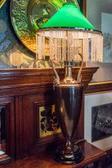 A swag lamp in the first floor drawing room