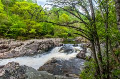 The trail passes beside waterfalls on the River Tummel