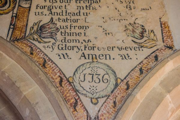 Little Barrington, St Peter's Church photo, 1736 painted text, north nave arcade