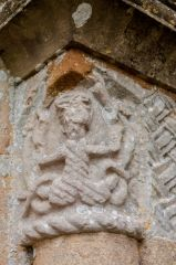 Little Langford, St Nicholas Church, 12th century mermaid carving, doorway capital