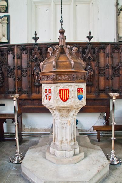 Little St Mary's, Cambridge photo, The 15th century font