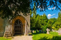 Little Tew, St John the Evangelist Church, The west porch and churchyard