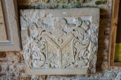 Little Wittenham, St Peter's Church, Armorial panel inside the south porch