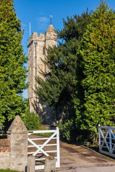 Little Wittenham, St Peter's Church photo, The medieval tower from Barn Cottage drive