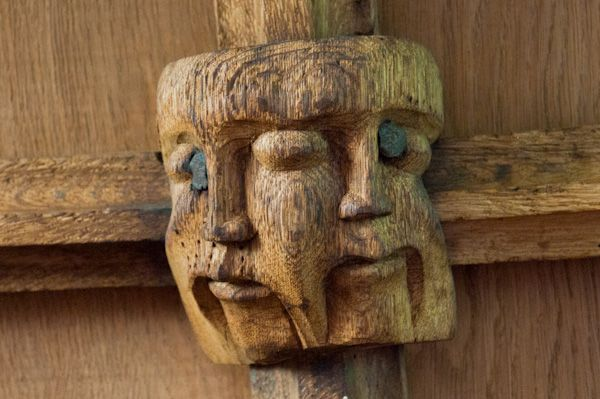 Llananno Church photo, Two headed boss carving