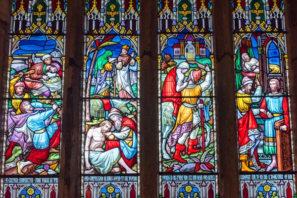 Llanbedr, St Peter's Church photo, Victorian stained glass window depicting the Good Samaritan