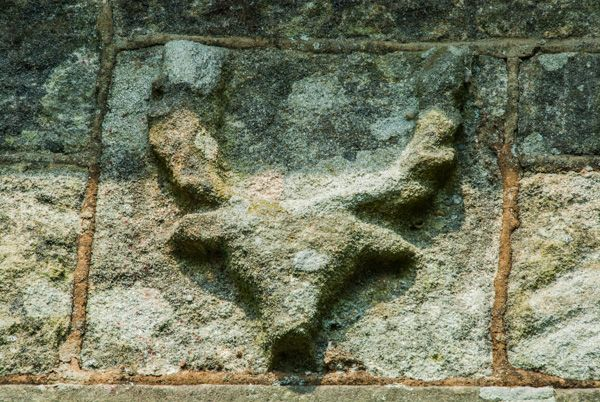 Llangadwaladr, St Cadwaladr's Church photo, Carved stag head on the exterior wall