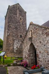 Llangennith, St Ceyndd Church, North porch and saddleback tower