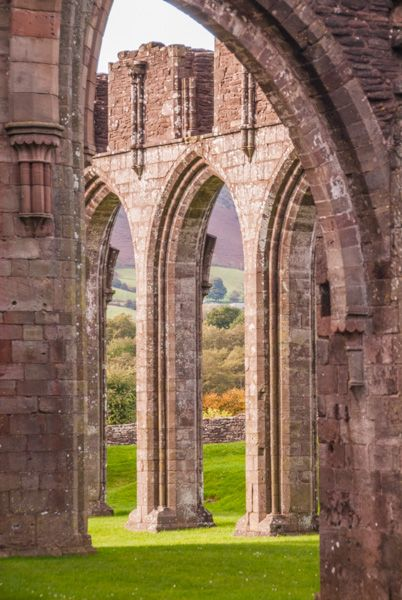 Llanthony Priory  photo, The north nave arcade through an arch